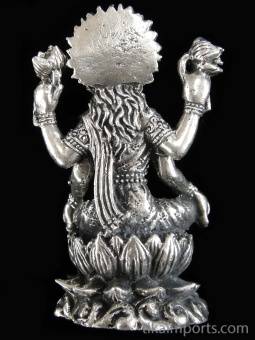 back of seated Lakshmi brass deity statue, the Goddess of abundance and prosperity