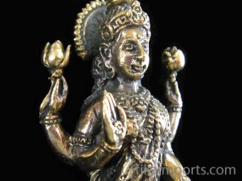 standing Lakshmi brass deity statue, the Goddess of abundance and prosperity