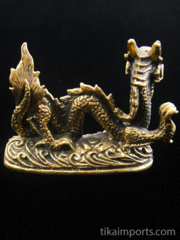 back view of Serpent-like Dragon brass deity statue, a traditional symbol of strength and power.