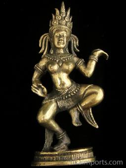 Apsara brass deity statue, a celestial female spirit of Hindu and Buddhist mythology