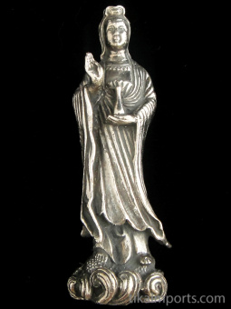 standing Quan Yin brass deity statue, the goddess of compassion