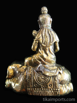 back of QuanYin brass deity statue, the Goddess of Compassion seated on an elephant