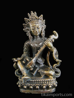 Saraswati brass statue, the Goddess of Knowledge and Music, seated and playing her instrument