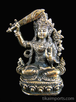 Manjushri brass deity statue, the Bodhisattva of wisdom