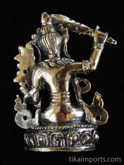 back of Manjushri brass deity statue, the Bodhisattva of wisdom