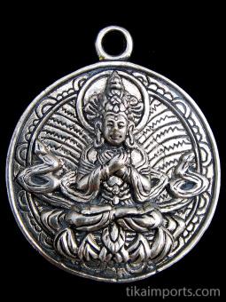 Tibetan Buddha brass deity pendant, sitting in meditation with hands over heart