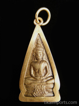 Seated Buddha brass deity pendant with gold-brass bezel
