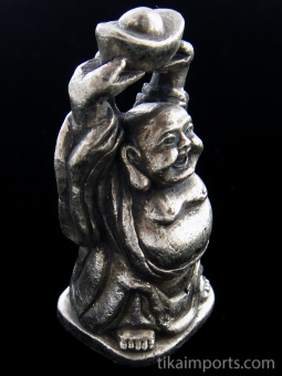 side view of Laughing Hotei Buddha brass deity pendant, holding bowl overhead for receiving good fortune