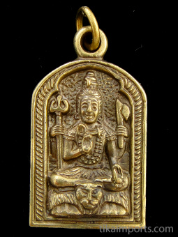 Shiva brass deity pendant, represented in one of his various forms as a meditating yogi