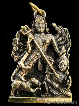 Durga brass deity pendant, the warrior goddess who combats evil forces