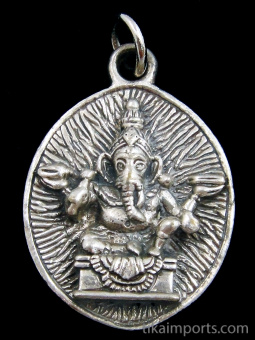 seated Ganesh brass deity pendant, the remover of obstacles