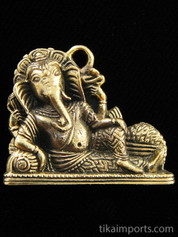 Reclining Ganesh brass deity pendant, the remover of obstacles