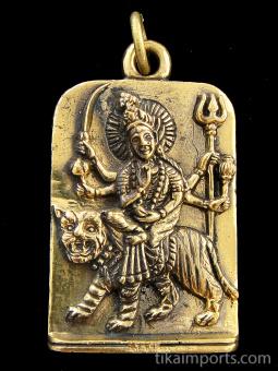 Durga brass deity pendant, the warrior goddess who combats evil forces