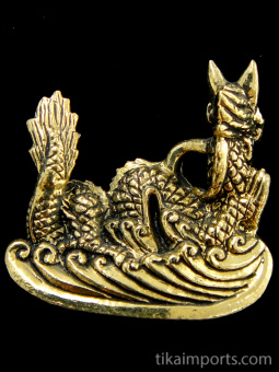 back of Dragon brass pendant, a traditional symbol of strength and power.