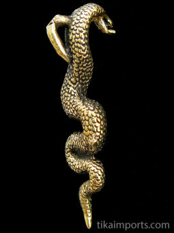 side view of Snake (cobra) brass pendant, showing bail on back