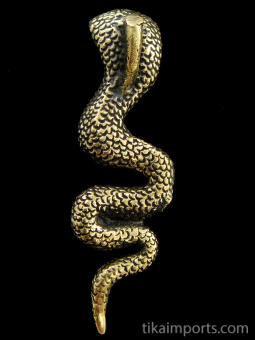 reverse view of Snake (cobra) brass pendant, showing bail on back