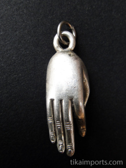 Buddha hand brass deity pendant in a gesture of open offering