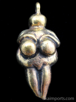 "Goddess brass pendant, an interpretation of the ancient ""Venus of Willendorf"" carving"