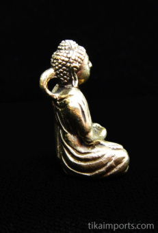 side view of Buddha brass deity pendant, showing bail on back