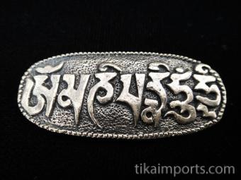Om Mani Padme Hum brass pendant, a universal prayer for peace