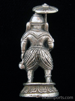 back of Ganesh brass deity statue, the ReGanesh brass deity statue, the Remover of Obstacles holding umbrella and water vessel