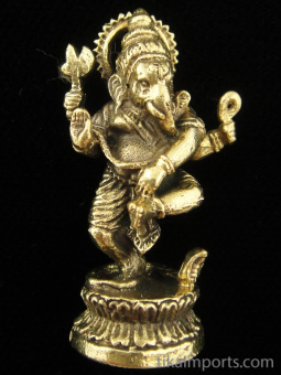 Dancing Ganesh brass deity statue, the remover of obstacles