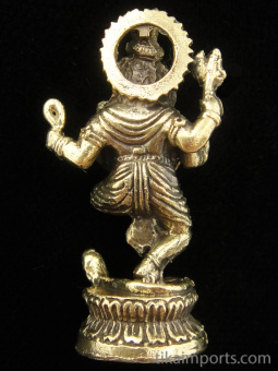 back of Dancing Ganesh brass deity statue, the remover of obstacles