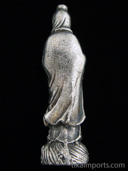 back of standing Quan Yin brass deity statue (small), the goddess of compassion