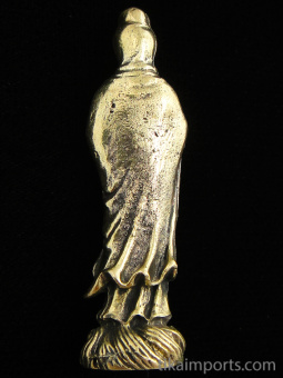 back of standing Quan Yin brass deity statue, the goddess of compassion