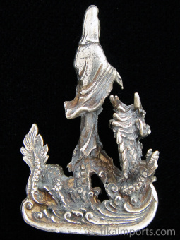 back of Quan Yin on Dragon brass deity statue, the goddess of compassion