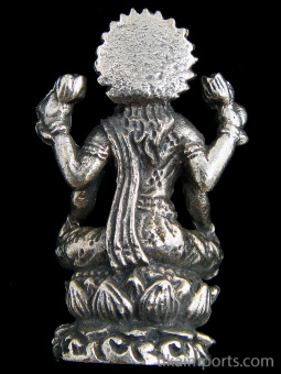 back of seated Lakshmi brass deity statue, the Goddess of abundance and prosperity, showing back of statuette