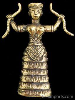 Snake Goddess brass deity statue, based on ancient Minoan figurines found in Crete