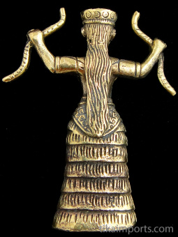 back of Snake Goddess brass deity statue, based on ancient Minoan figurines found in Crete