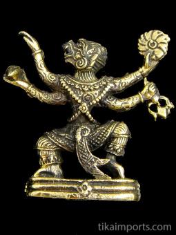 Hanuman brass deity statue, the monkey god symbolizing strength and devotion