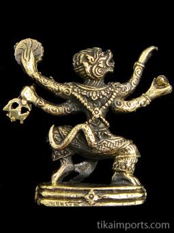 back of Hanuman brass deity statue, the monkey god symbolizing strength and devotion