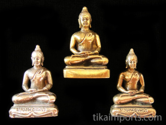 Buddha brass deity statues, showing slight variations in the embellishment of the base