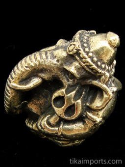 side view of Round Ganesh brass deity statue, the remover of obstacles