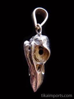 Quality cast copper-tone solid bronze Medium Raven Skull Pendant
