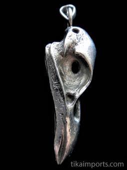 Quality cast silver-tone solid bronze XL Raven Skull Pendant