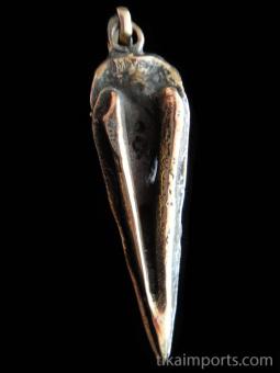 Quality cast copper-tone solid bronze XL Raven Skull Pendant
