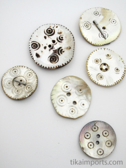 natural mother-of-pearl shell buttons from the mountain village of Gilgit in Northern Pakistan