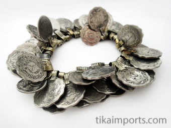 50 pc. hank of old afghani coin pendants with mostly scalloped edges