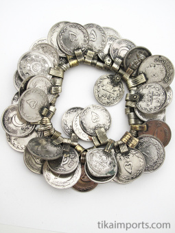 50 pc. hank of old afghani coin pendants