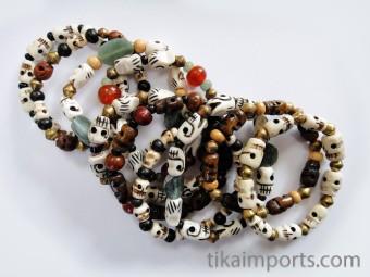 Assorted skull stretch bracelets showing variety
