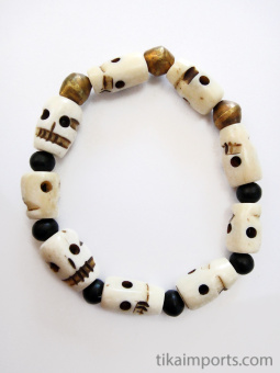 skull stretch bracelet with bone skull, ebony and brass beads