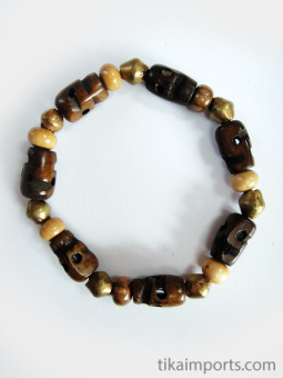 skull stretch bracelet with bone skull, wood and brass beads