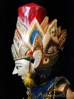 traditional wayang golek puppet Prabu Watugunung from Indonesian mythology. Handmade in Java, Indonesia