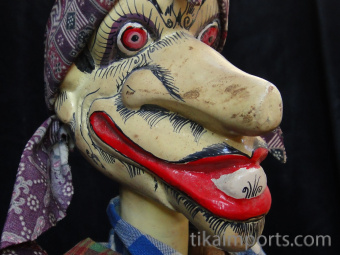 traditional wayang golek puppet Petruk from the Mahabharata. Handmade in Java, Indonesia