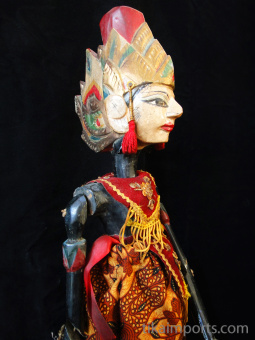 traditional wayang golek puppet Basukeswara from the Mahabharata. Handmade in Java, Indonesia