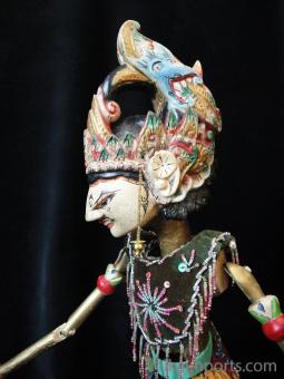 traditional wayang golek puppet Samba from the Mahabharata. Handmade in Java, Indonesia
